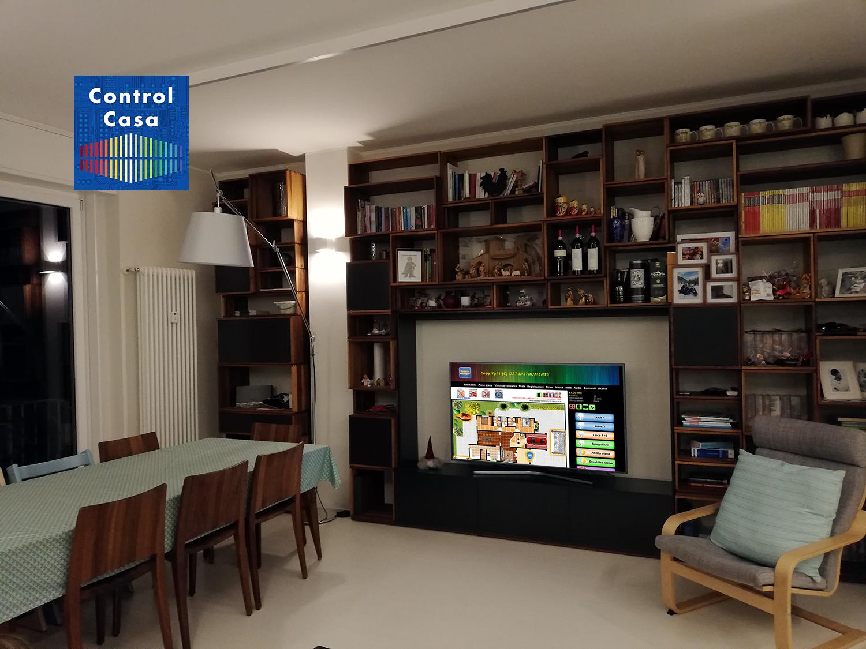 Salotto ristrutturato, control casa, domotica, impianto domotico, milano City life, elettrosmog, onde elettromagnetiche